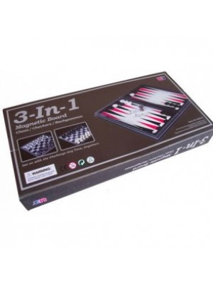 """Magnetic Chess Checkers & Backgammon (3 in 1) 14"""""""