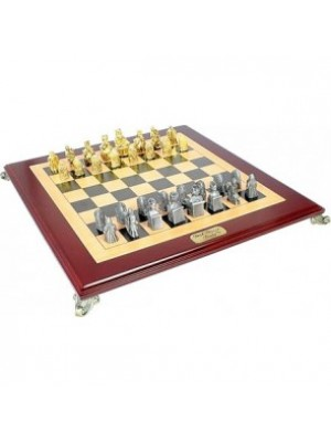 Dal Rossi Italy Chess Set Isle Of Lewis Pewter with Board