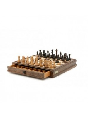 """Chess & Checkers Walnut Box With Drawers 15"""""""