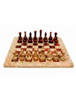 Onyx Chess Set Sea Fossil & Red 38cm