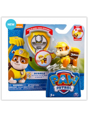 Paw Patrol Rubble Action Pack With Badge