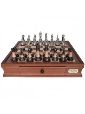 """Dal Rossi Staunton Metal/Marble Finish Chess Set with Drawers (18"""")"""